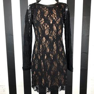 Rag & Bone Black Lace Long Sleeve Mini Dress